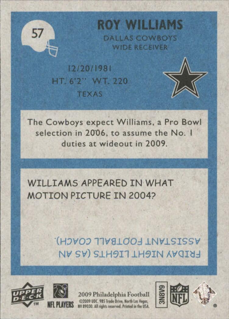 2009 Philadelphia #57 Roy Williams WR back image
