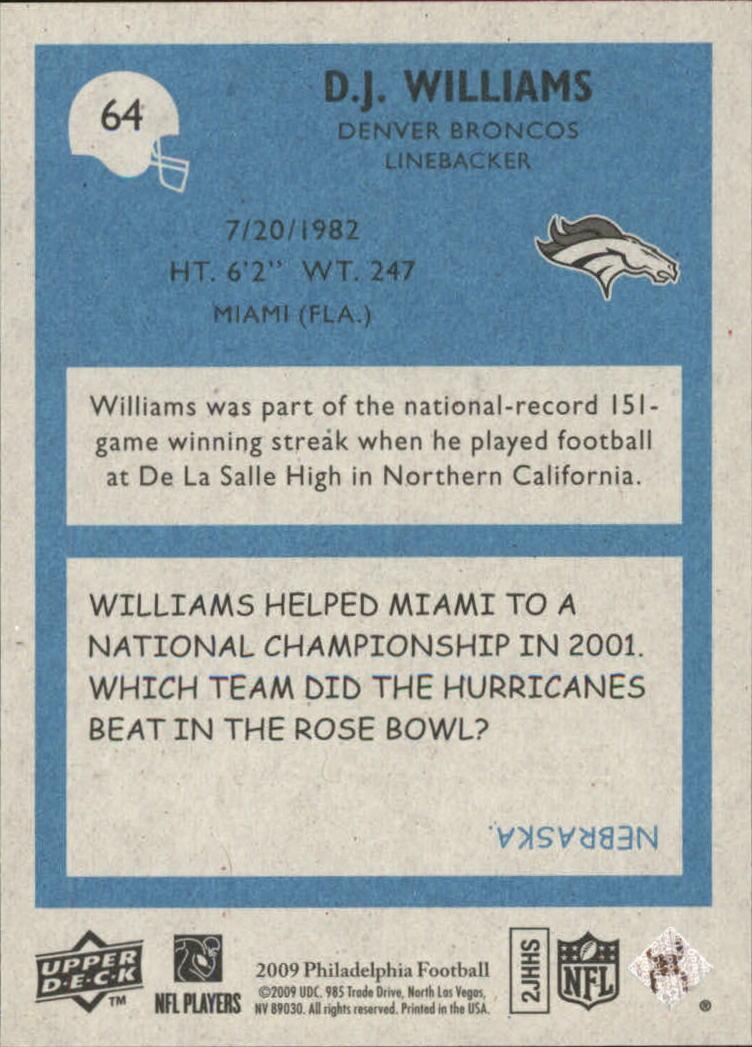 2009 Philadelphia #64 D.J. Williams back image