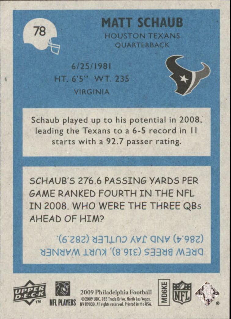 2009 Philadelphia #78 Matt Schaub back image