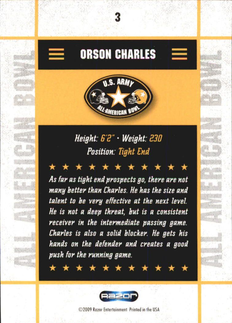 2009 Razor Army All-American Bowl #3 Orson Charles back image