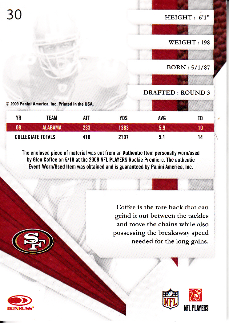 2009 Absolute Memorabilia Rookie Jersey Collection #30 Glen Coffee back image