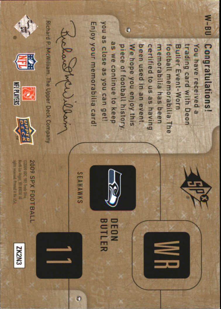 2009 SPx Winning Materials #WAV Donnie Avery/349 back image