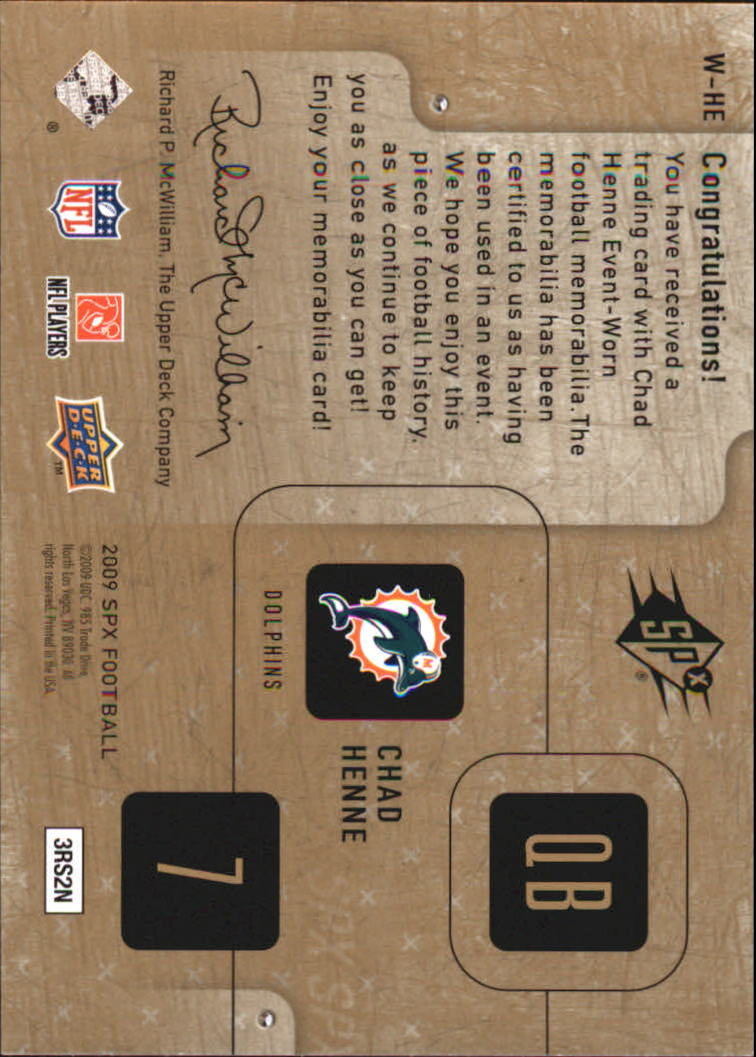 2009 SPx Winning Materials #WHE Chad Henne/349 back image