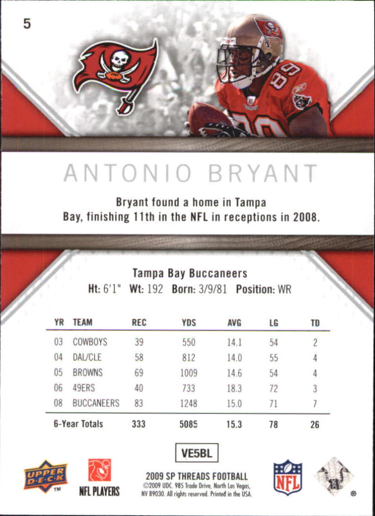 2009 SP Threads #5 Antonio Bryant back image