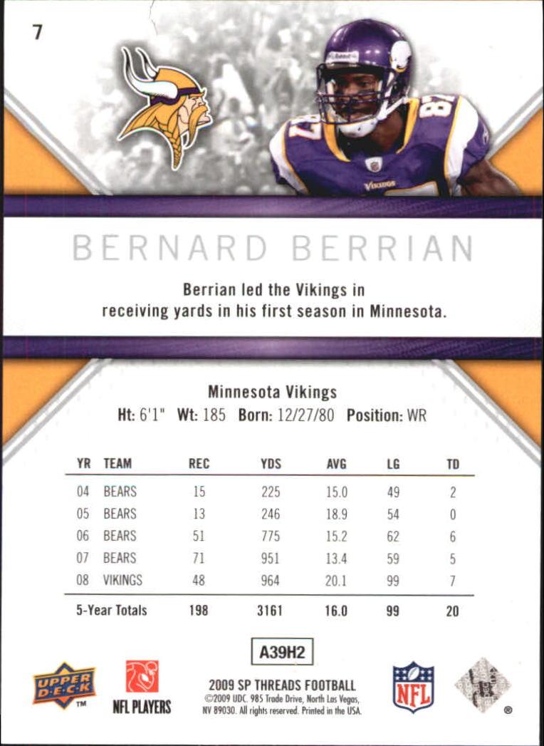 2009 SP Threads #7 Bernard Berrian back image