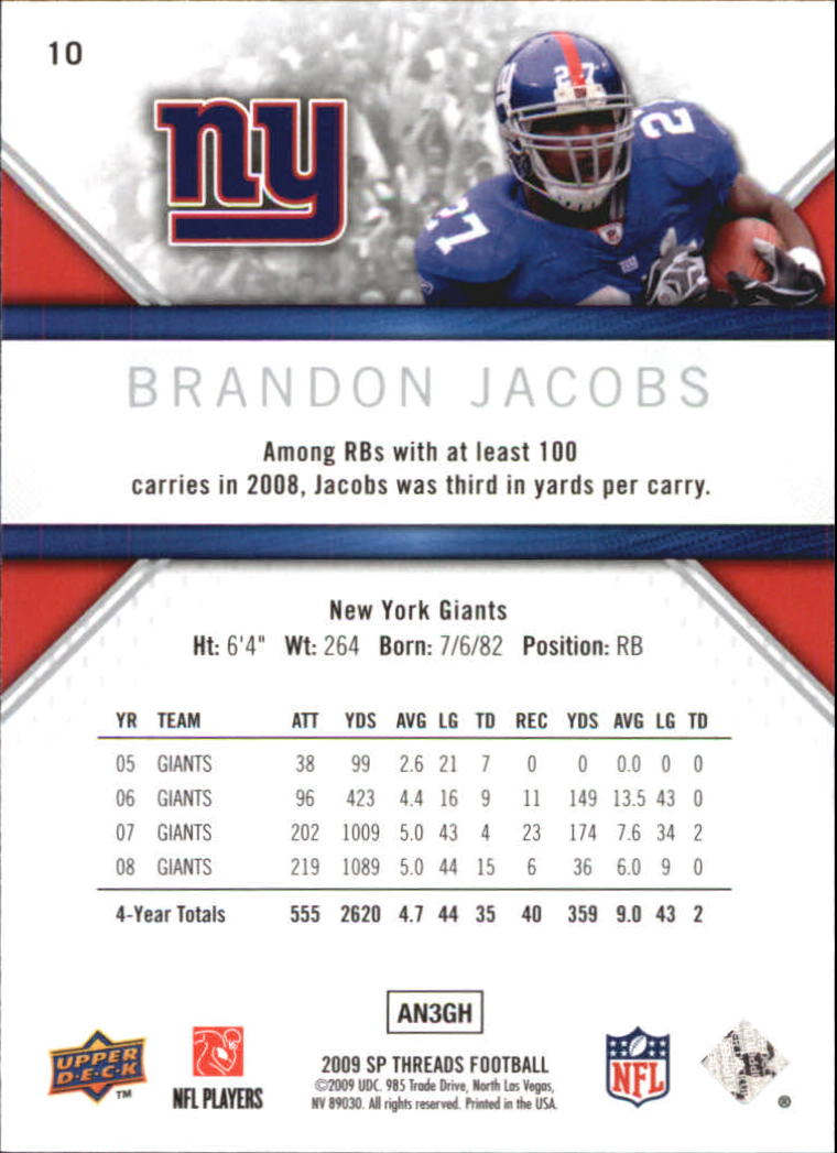 2009 SP Threads #10 Brandon Jacobs back image