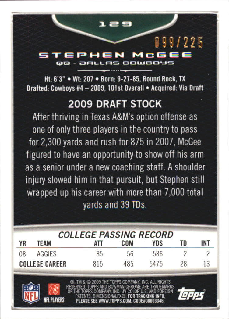 2009 Bowman Chrome Rookies Bronze #129 Stephen McGee back image