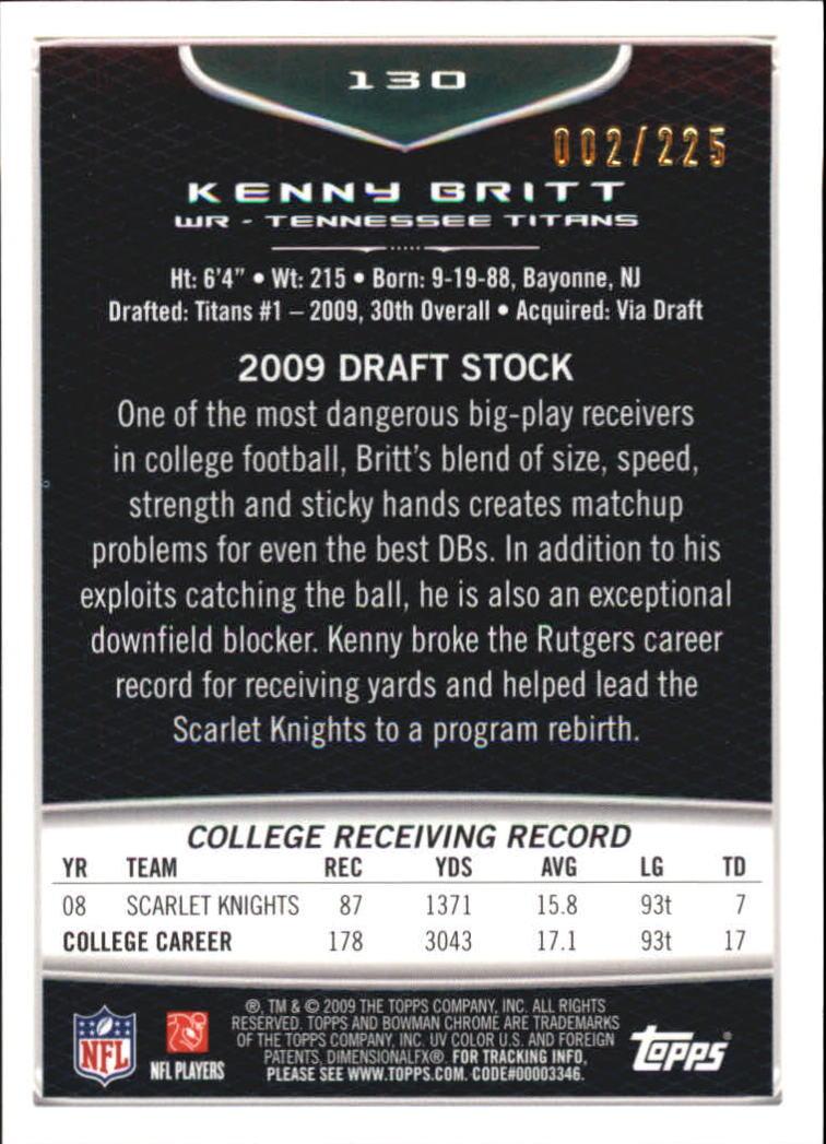 2009 Bowman Chrome Rookies Bronze #130 Kenny Britt back image