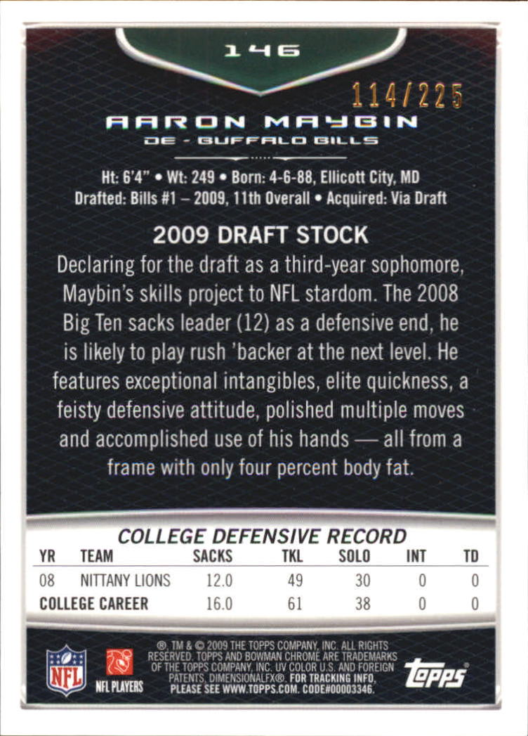 2009 Bowman Chrome Rookies Bronze #146 Aaron Maybin back image