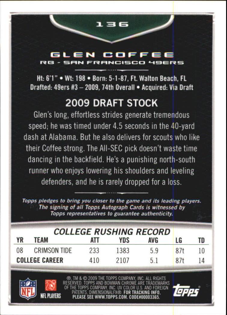 2009 Bowman Chrome Rookie Autographs #136 Glen Coffee C back image