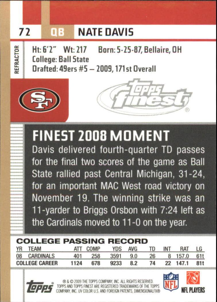 2009 Finest Pigskin Refractors #72 Nate Davis back image