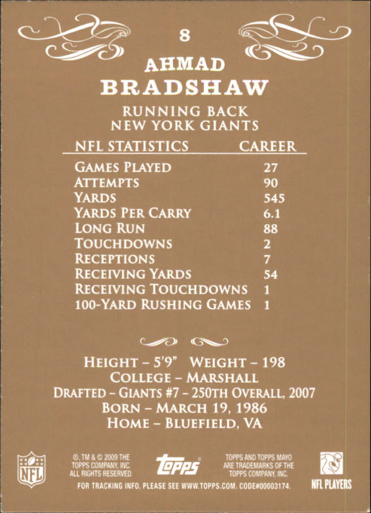 2009 Topps Mayo #8 Ahmad Bradshaw back image