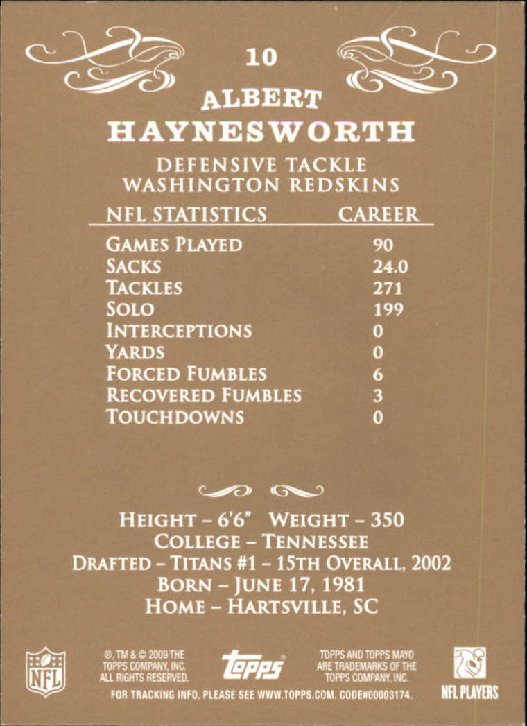 2009 Topps Mayo #10 Albert Haynesworth back image