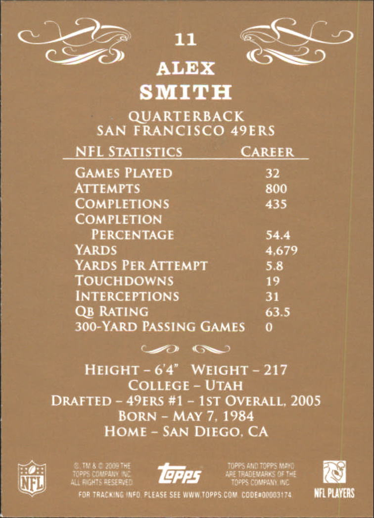 2009 Topps Mayo #11 Alex Smith QB back image