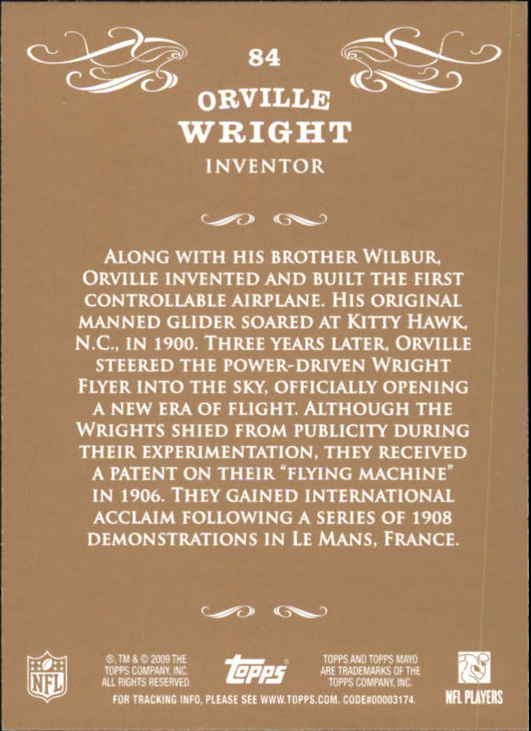 2009 Topps Mayo #84 Orville Wright inventor back image