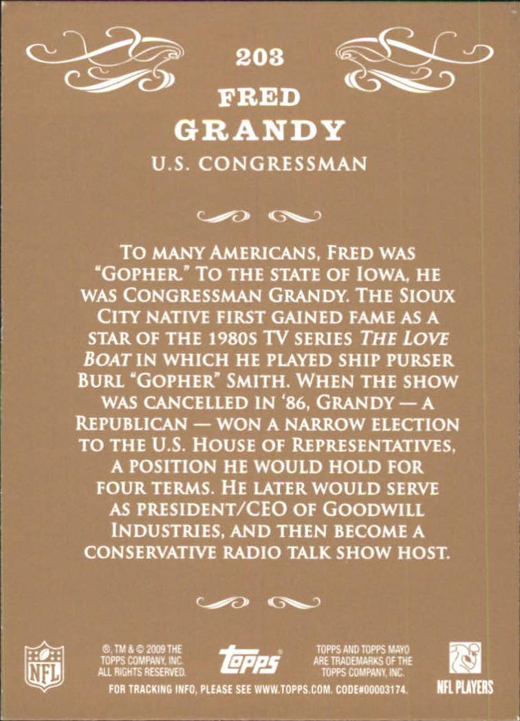 2009 Topps Mayo #203 Fred Grandy Congress back image