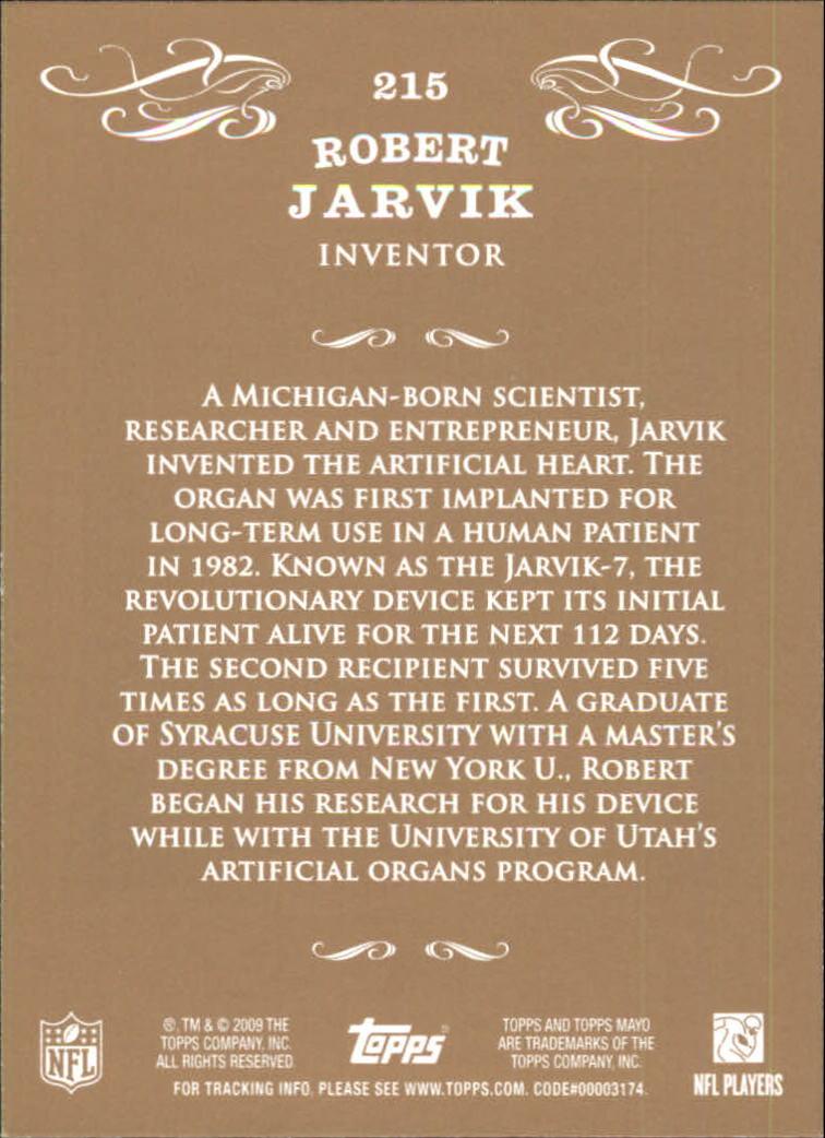 2009 Topps Mayo #215 Robert Jarvik inventor back image