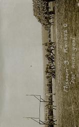 """1913 Missouri Postcards #2 Missouri 3, Kansas 0/(""""Mc"""" kicks goal)"""