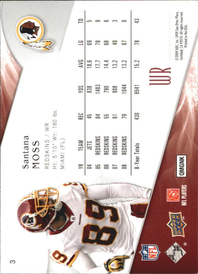 2009 SP Authentic Retail #3 Santana Moss back image