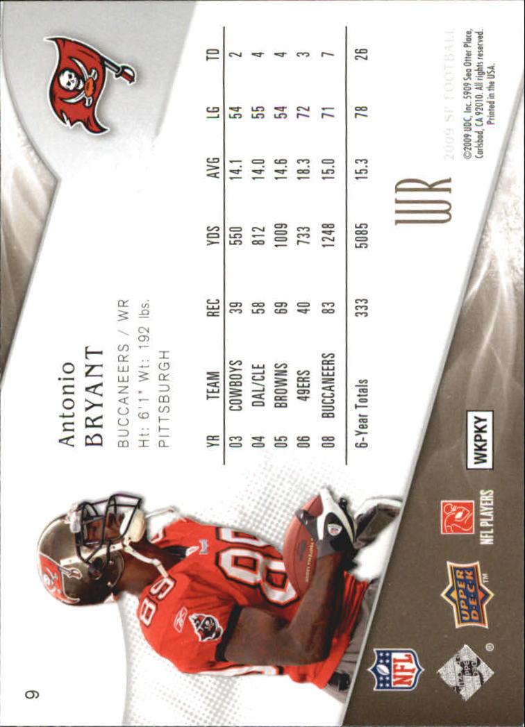 2009 SP Authentic Retail #9 Antonio Bryant back image