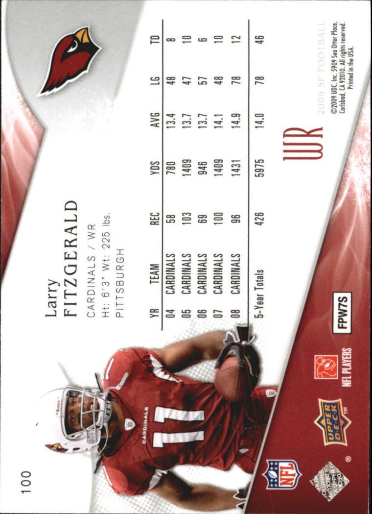 2009 SP Authentic Retail #100 Larry Fitzgerald back image