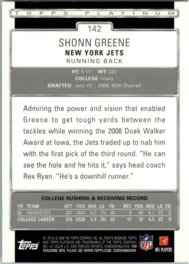 2009 Topps Platinum #142 Shonn Greene RC back image