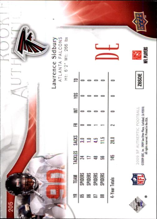 2009 SP Authentic #205 Lawrence Sidbury RC back image