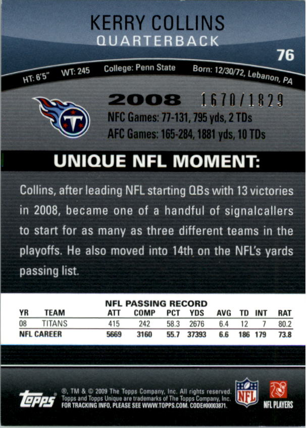2009 Topps Unique #76 Kerry Collins/1829 back image