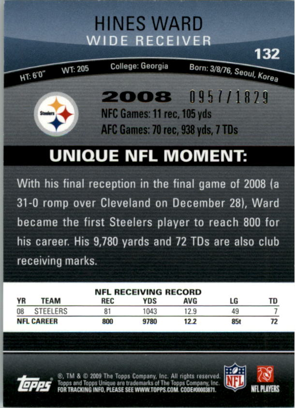 2009 Topps Unique #132 Hines Ward/1829 back image