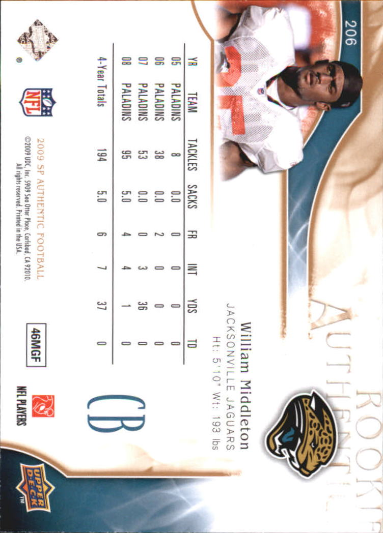 2009 SP Authentic Bronze #206 William Middleton back image