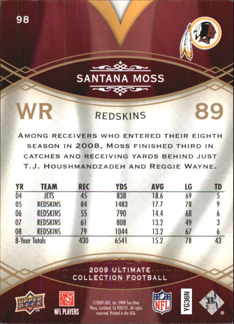 Santana The Ultimate Collection: 2009 Ultimate Collection Football Card #98 Santana Moss