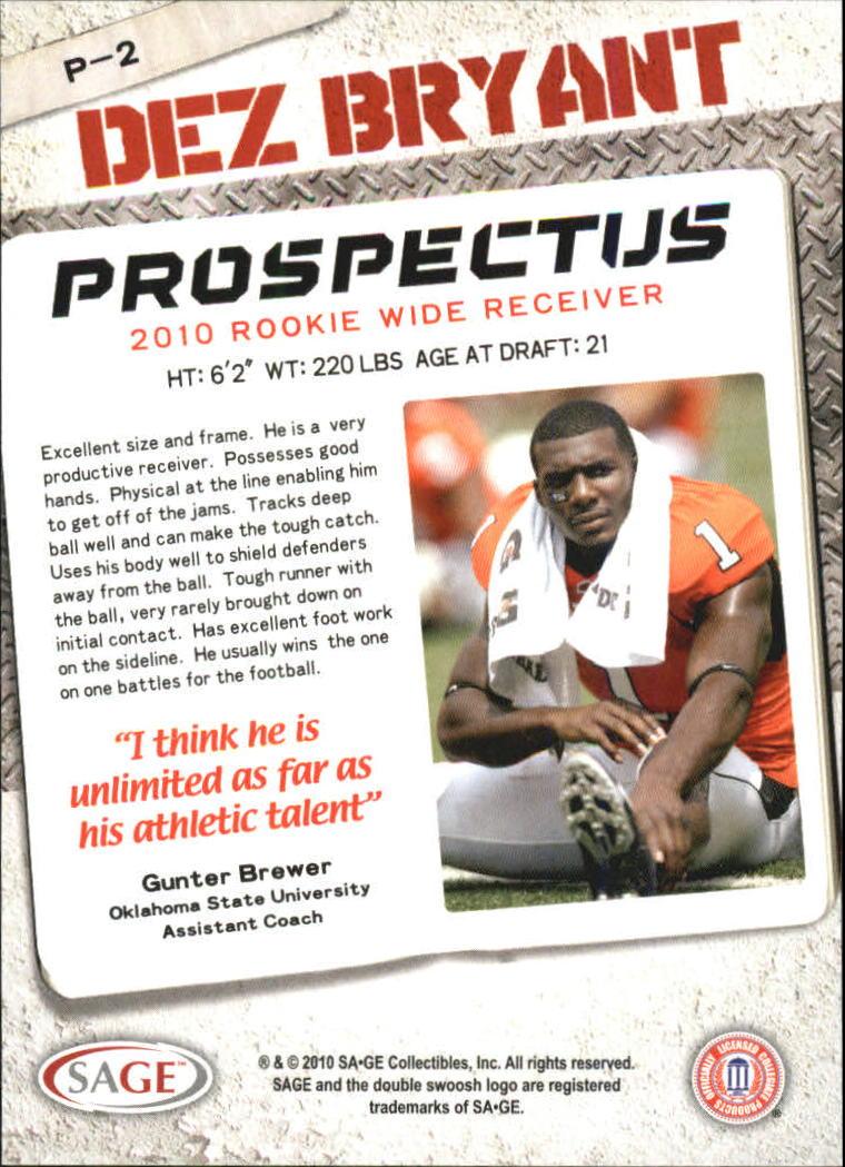 2010 SAGE HIT Prospectus #P2 Dez Bryant back image