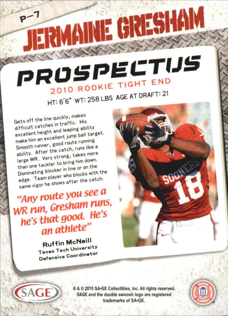 2010 SAGE HIT Prospectus #P7 Jermaine Gresham back image