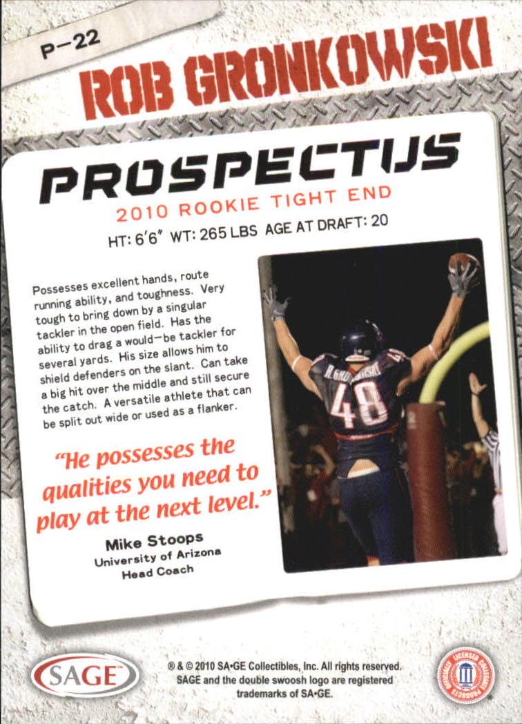 2010 SAGE HIT Prospectus #P22 Rob Gronkowski back image