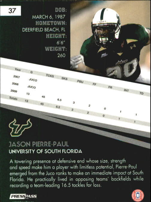 2010 Press Pass #37 Jason Pierre-Paul back image