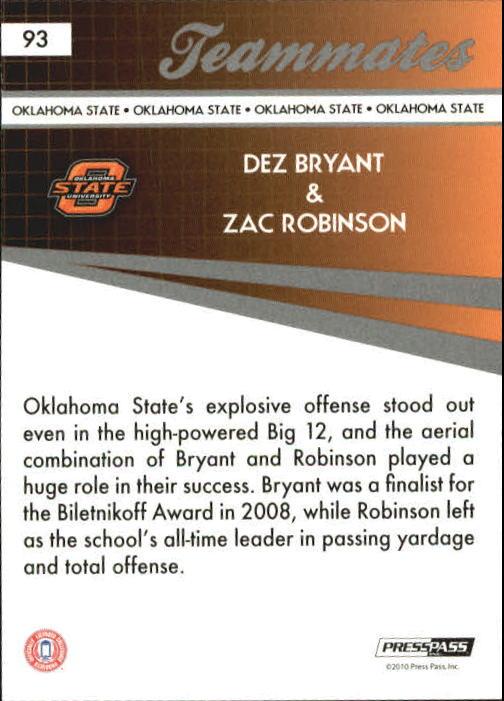 2010 Press Pass #93 Dez Bryant TM/Zac Robinson back image