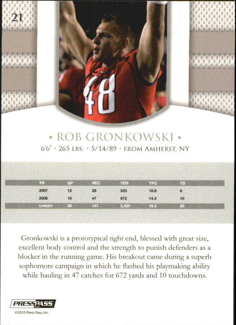 2010 Press Pass PE #21 Rob Gronkowski back image