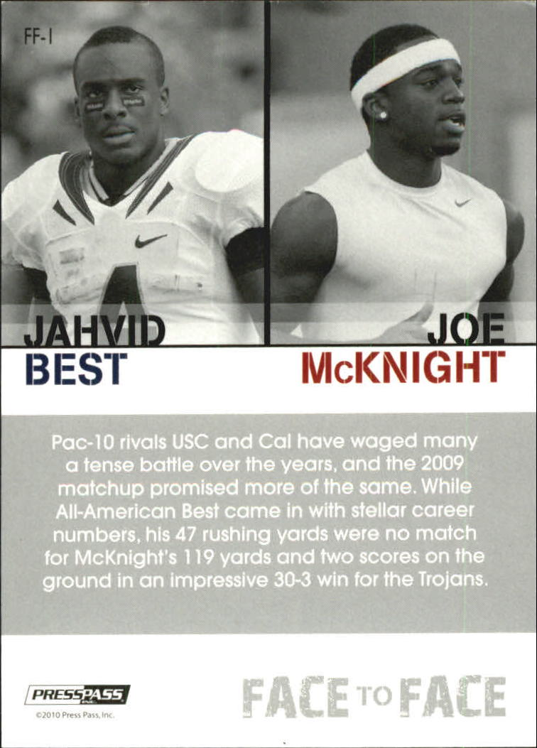 2010 Press Pass PE Face To Face #FF1 Jahvid Best/Joe McKnight back image