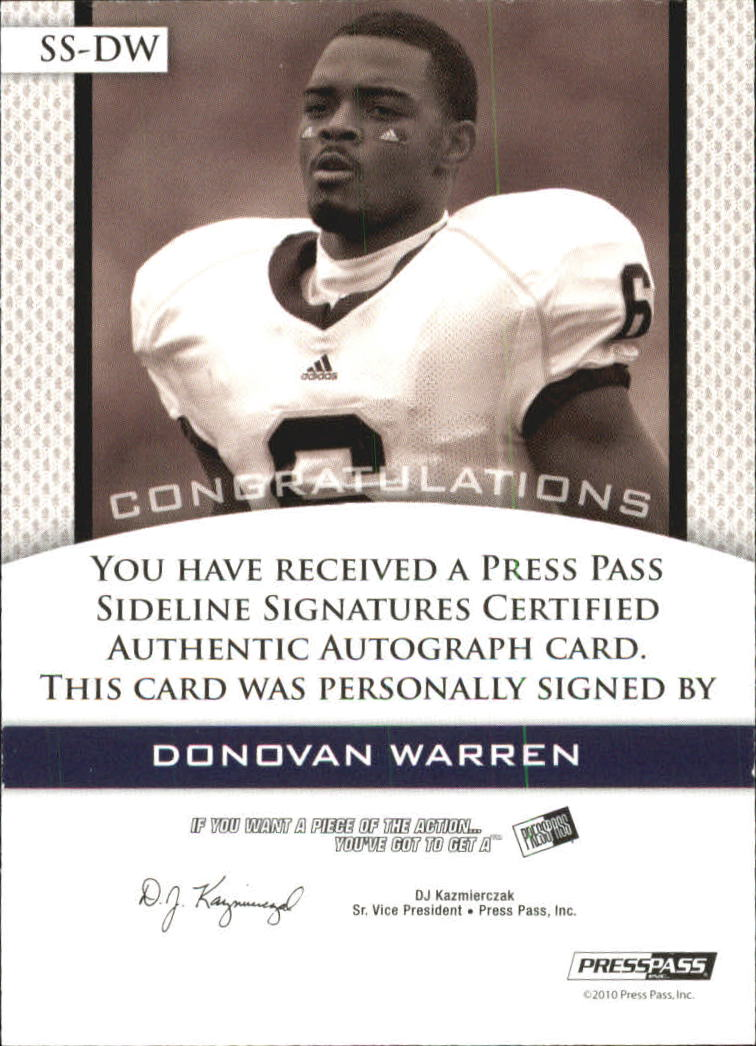 2010 Press Pass PE Sideline Signatures Gold #SSDW Damian Williams back image
