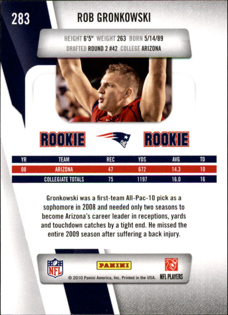 2010 Prestige #283A Rob Gronkowski RC back image
