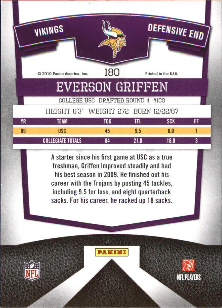 2010 Donruss Elite #180 Everson Griffen RC back image