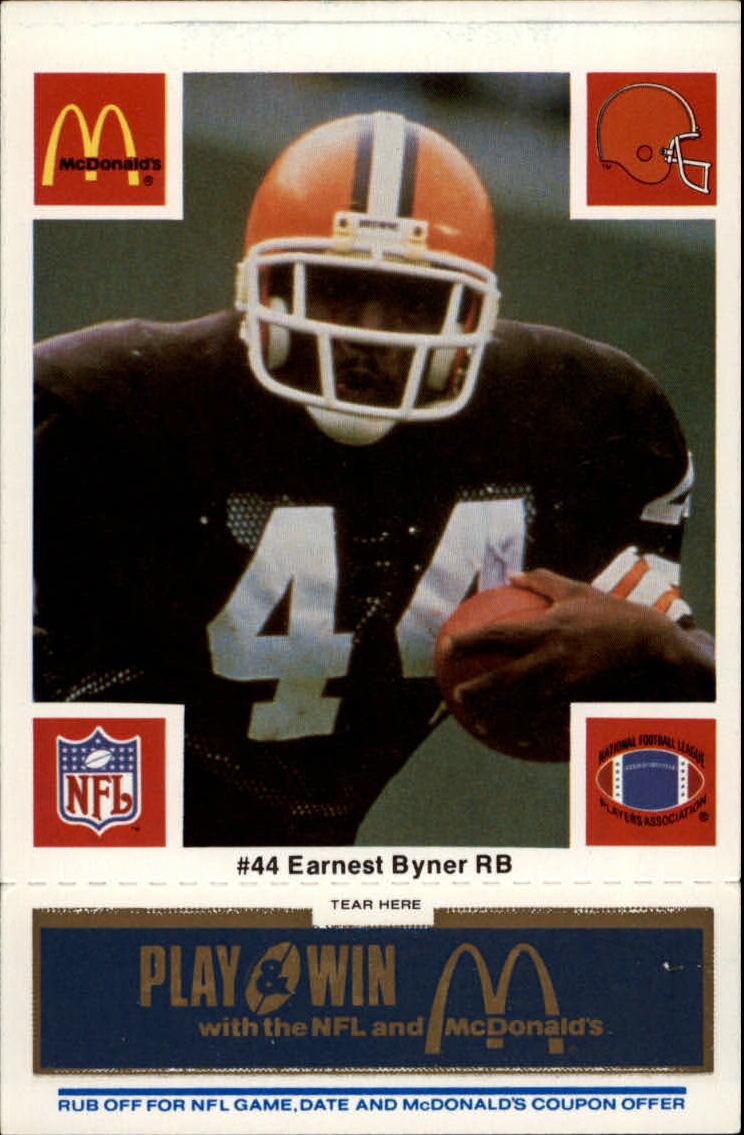 1986 McDonald's Browns Blue Tab #44 Earnest Byner