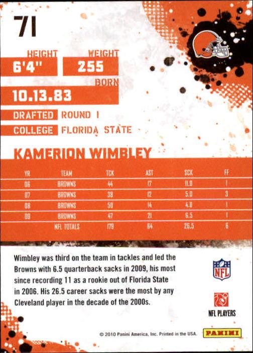 2010 Score #71 Kamerion Wimbley back image