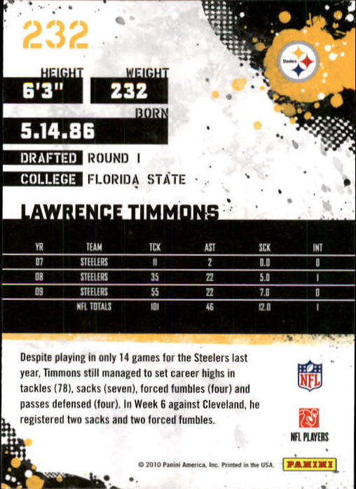 2010 Score #232 Lawrence Timmons back image