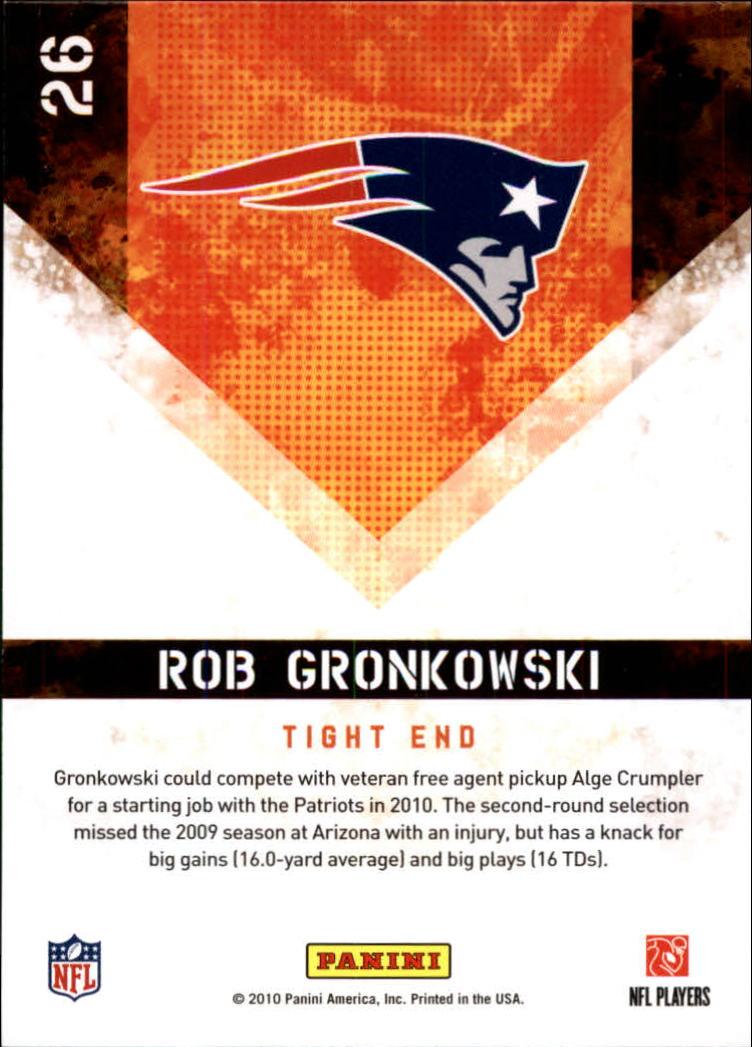 2010 Score Hot Rookies Glossy #26 Rob Gronkowski back image