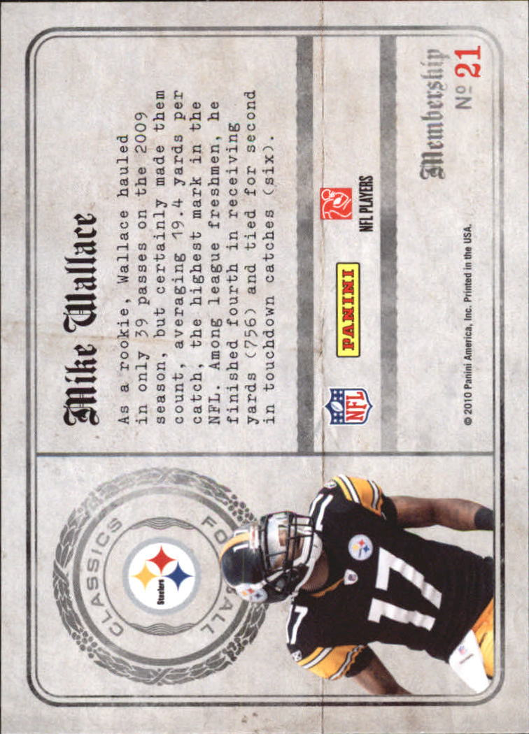 2010 Classics Membership #21 Mike Wallace back image