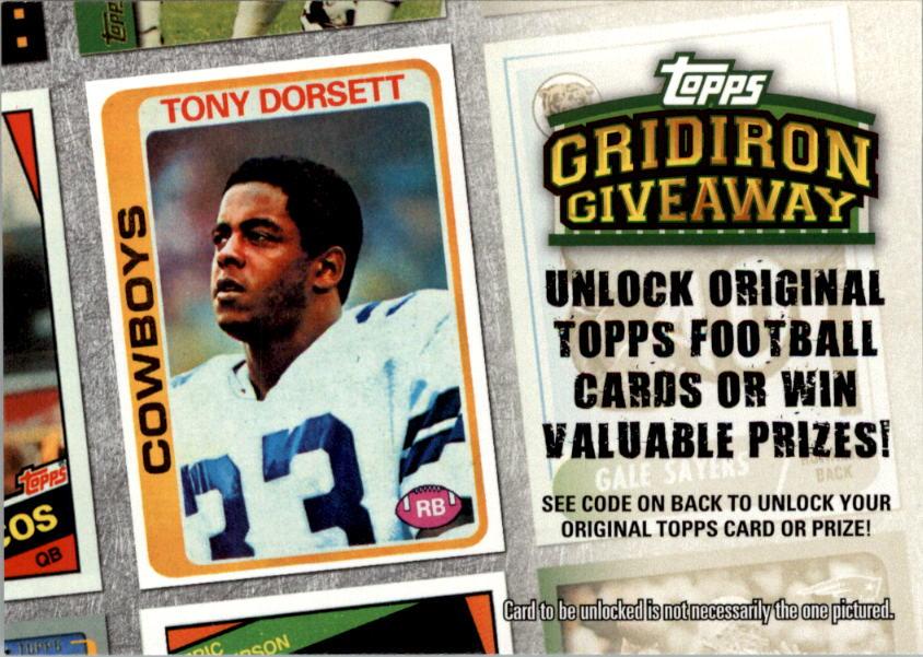 2010 Topps Gridiron Giveaway #GG7 Tony Dorsett