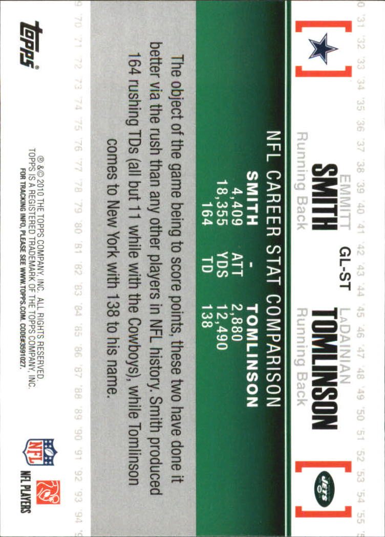 2010 Topps Gridiron Lineage #GLST Emmitt Smith/LaDainian Tomlinson back image