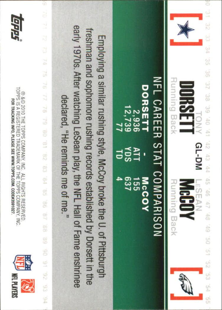 2010 Topps Gridiron Lineage #GLDM Tony Dorsett/LeSean McCoy back image