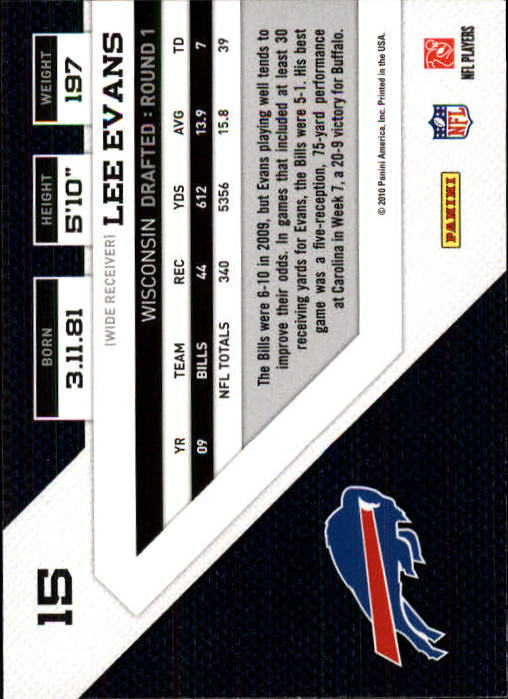 2010 Panini Threads #15 Lee Evans back image